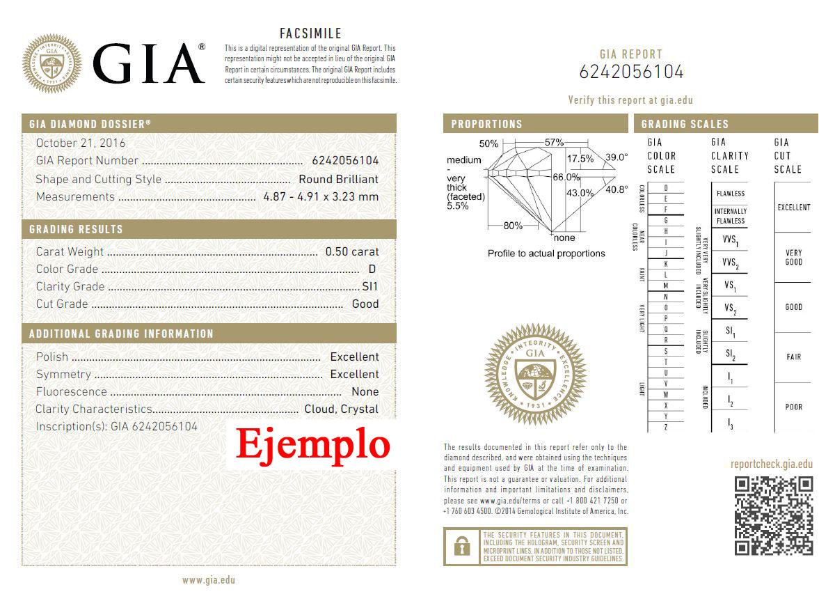 Ejemplo certificado de autenticidad diamante